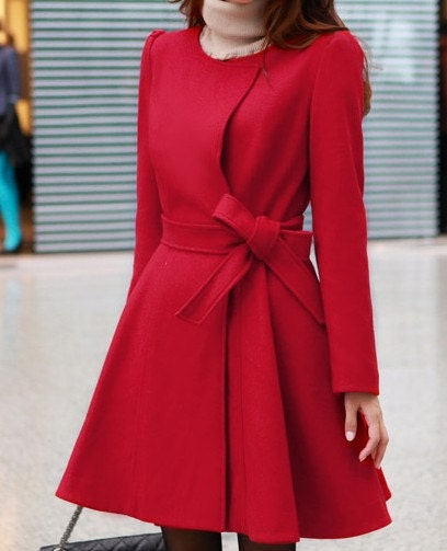 Red /Black wool women coat women dress coat with belt Spring Autumn Winter--CO046