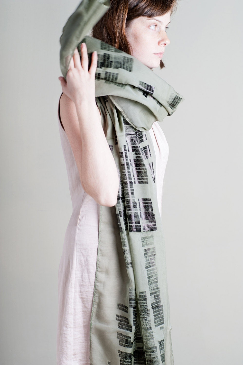 Hand Screen Printed Sheer Cotton Voile Scarf, Olive Green Light Women Scarf. - LeeCoren