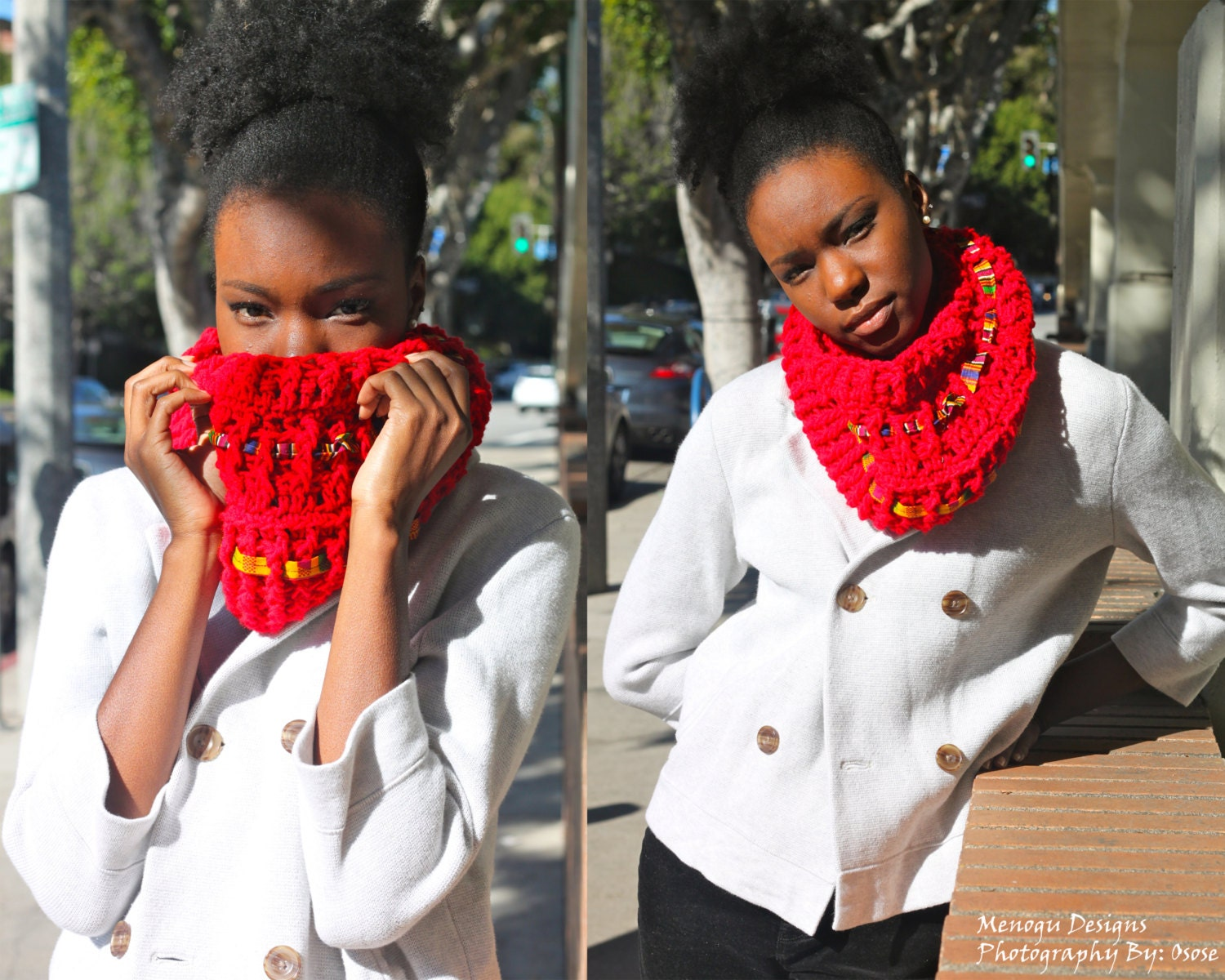 Red Crochet Kente Cowl Neck Scarf by MenoguDesigns on Etsy Cowl Neck Scarves Crochet