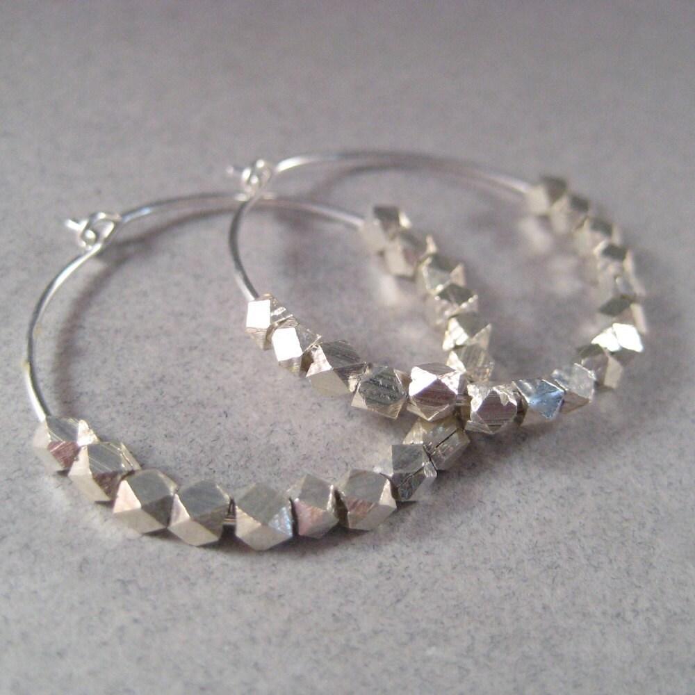 Silver Hoop Earrings, Sterling Silver Nugget Earrings, Faceted Nugget Hoop Earrings, Geometric Circle Under 50 - juliegarland