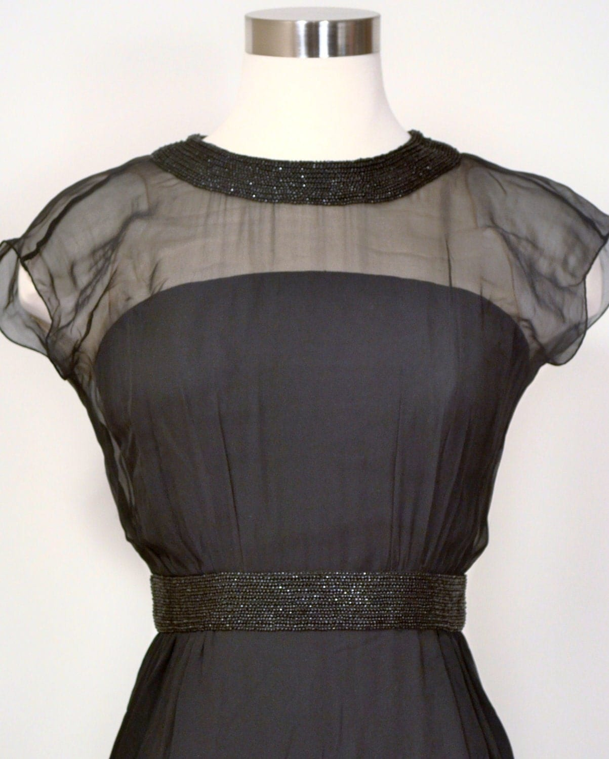 Black Dress Vintage Cocktail Wiggle Sheer Organza Glass Beaded Collar & Waist Lee Claire New York 1950's XXS/XS Little Black Dress