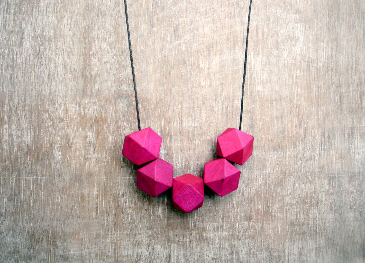 Geometric Necklace /Pink Necklace/  / Wooden Necklace/Boho Necklace - JullMade
