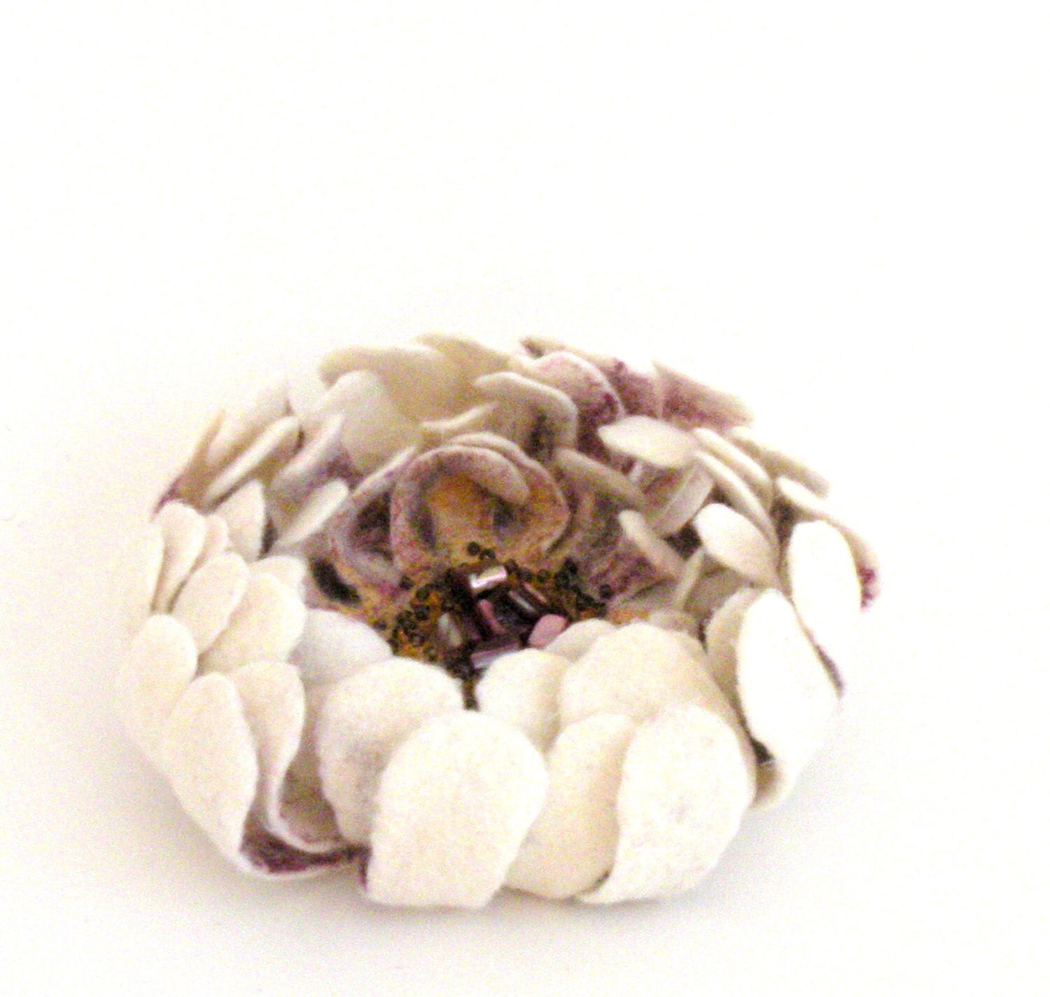 Felt flower pin brooch - natural white purple yellow flower - ready to ship - floral jewelry - bridal accessories - AgnesFelt