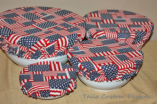 Reusable Bowl Covers Picnic Patriotic American Flag Americana USA Red, White, Blue Fabric (Set of 4) - TailaCustomDesigns