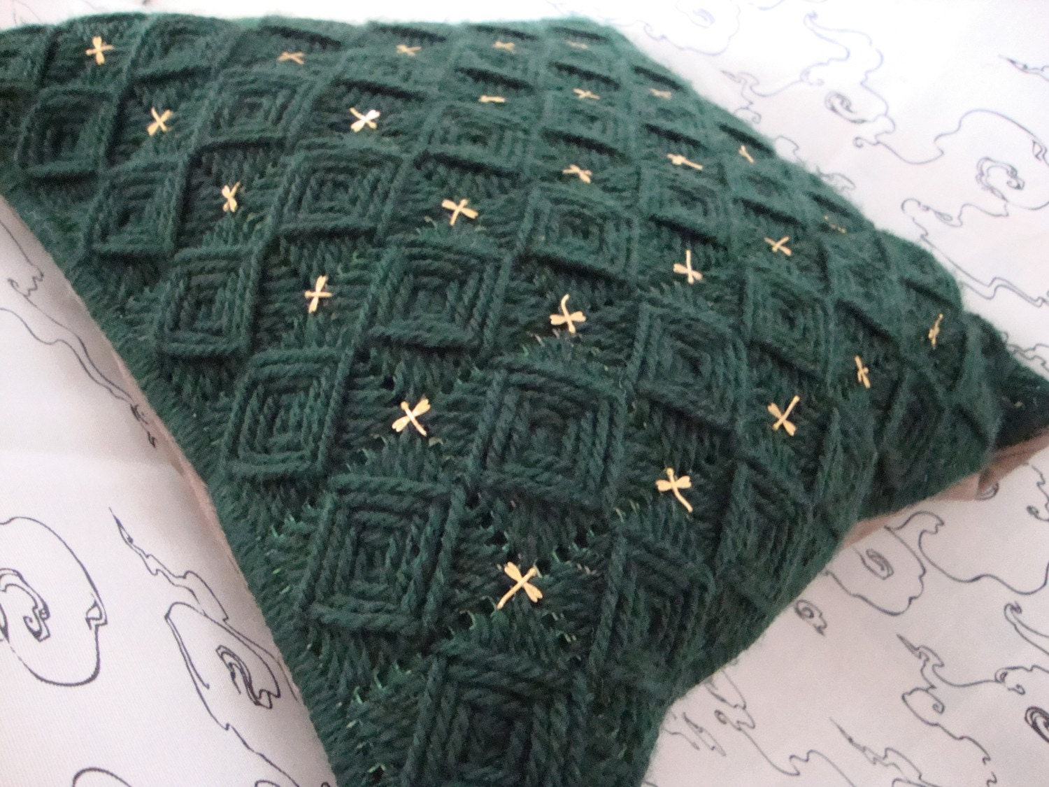 Needlepoint Handmade Pillow Cover with Lucky 22 Karat Gold Plated Dragonflies on Dark Green Squares / Shop Early for Christmas