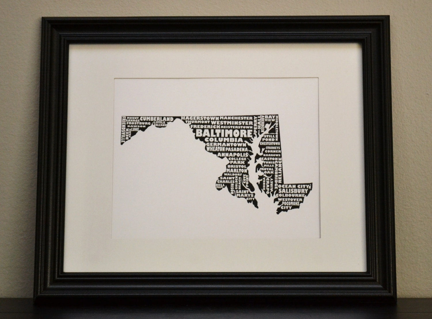 Cities of MARYLAND Collage Print (OR Customize and Choose Your Own State)