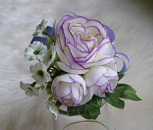 Purple Fringed White Ranunculus Bridesmaid Wrist Corsage Groom Groomsmen