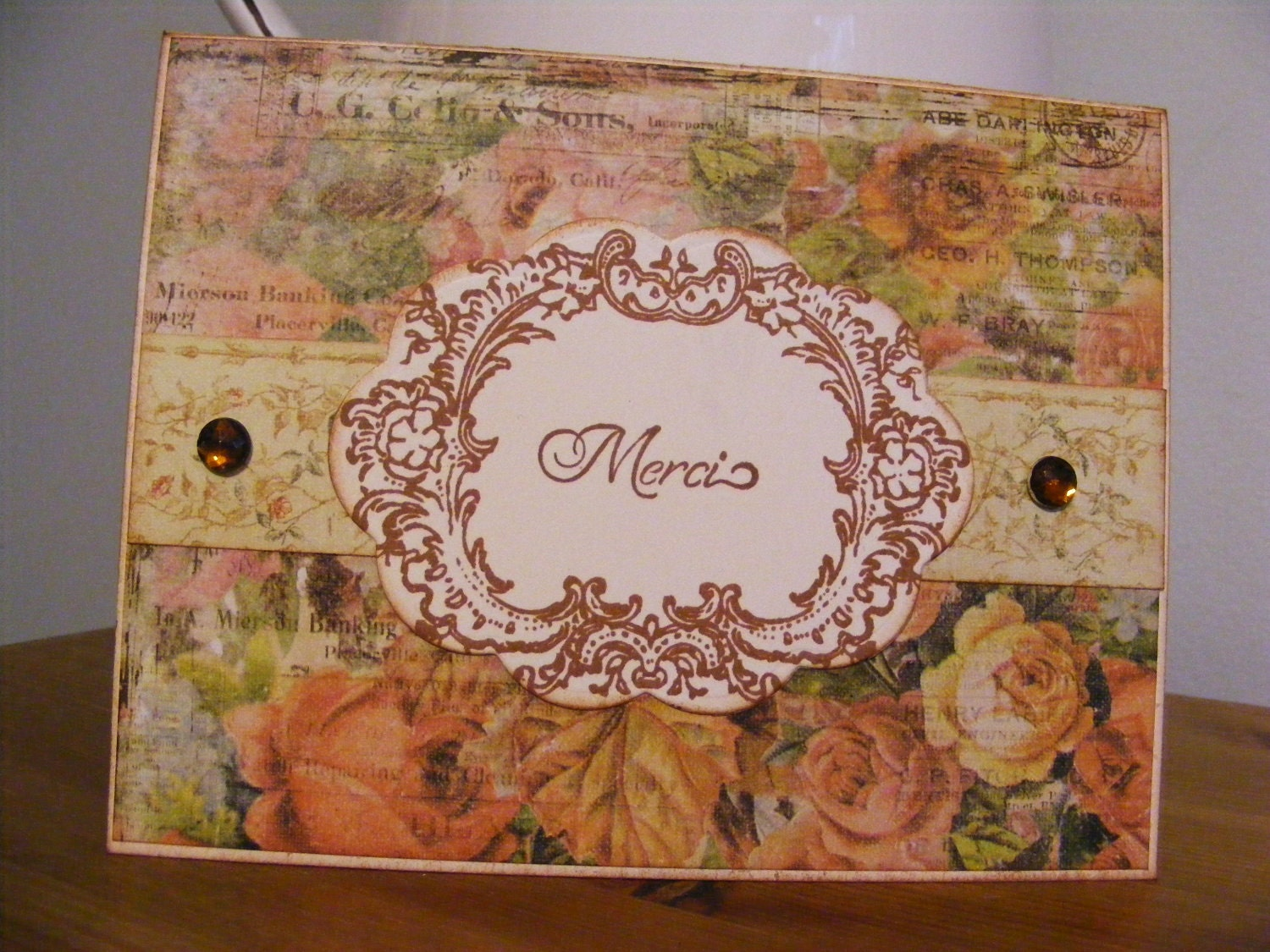 Handmade Stamped Merci Thank You Vintage Style Cabbage Rose Greeting Card