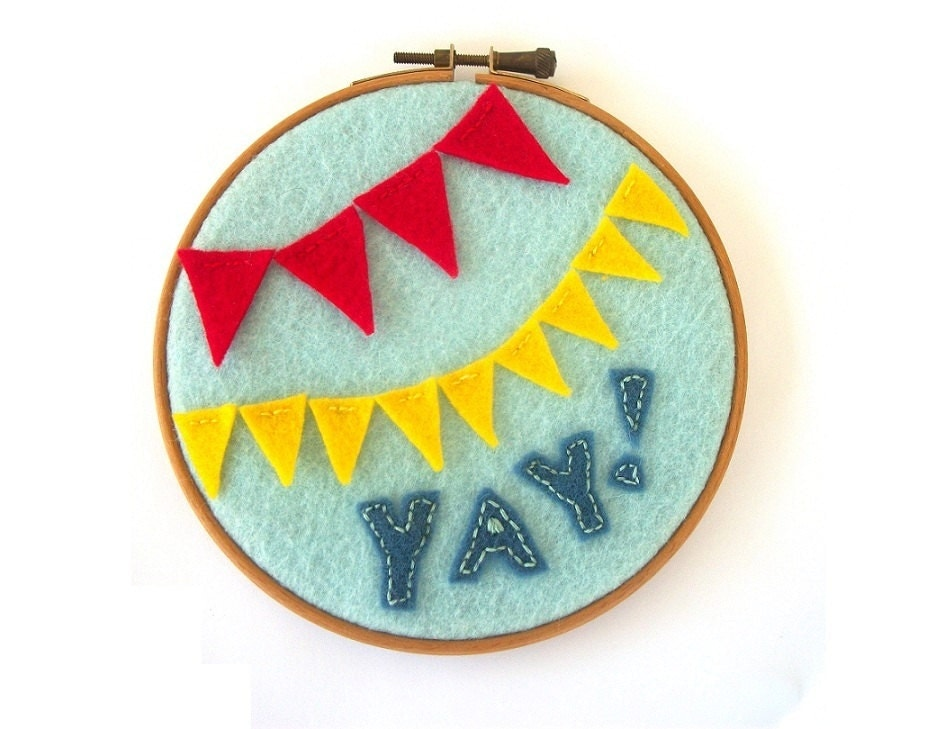 Yay Banner Felt Embroidery Hoop Art - Primary Colors