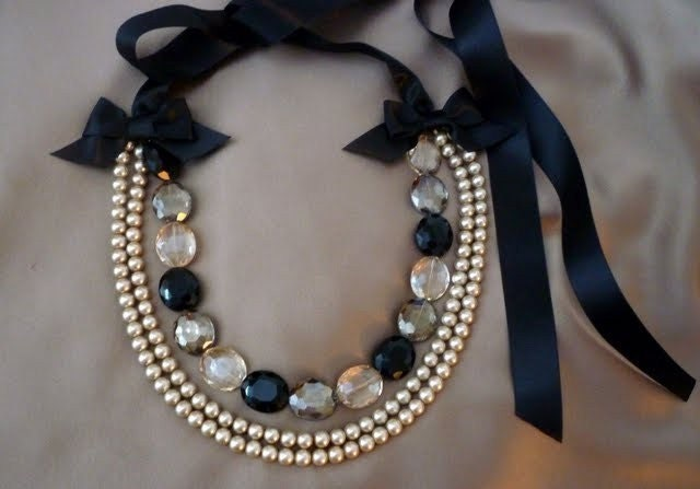When Deco Met Pearl - Crystal, Pearl and Ribbon Necklace - RubyMines