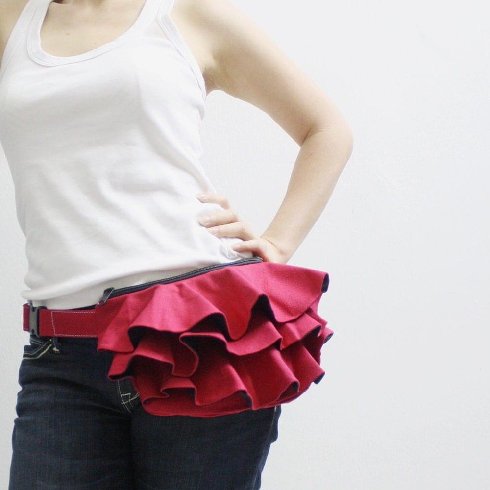 Mothers Day Sale - Red Ruffled Canvas Women's Fanny Pack, Hip Bag, Belt pouch, Handbag, Handbag- Kinies Ruffled Waist Purse