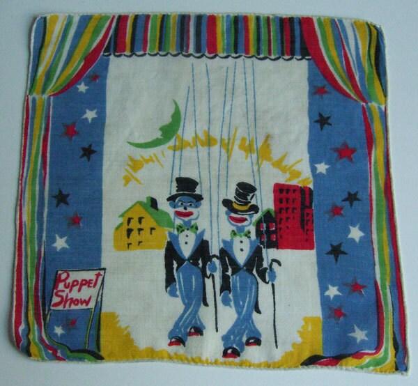 Vintage Puppet Show Childrens Hankie - murdups