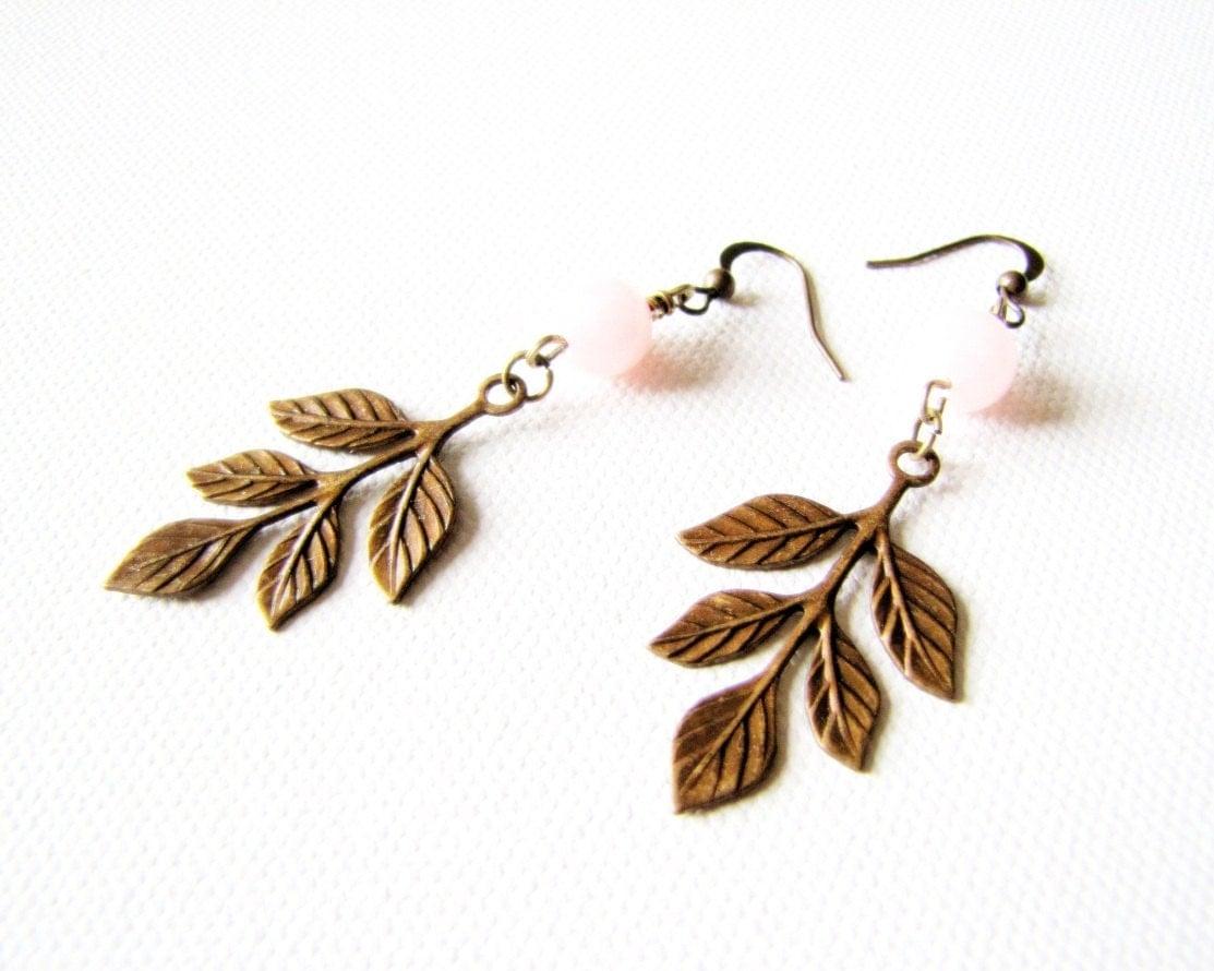 Victorian Earrings Leaf Earrings Garden Wedding Shabby Chic Jewelry Leaves Rustic Earrings Romantic Jewelry Maid of Honor - TwigsAndLace