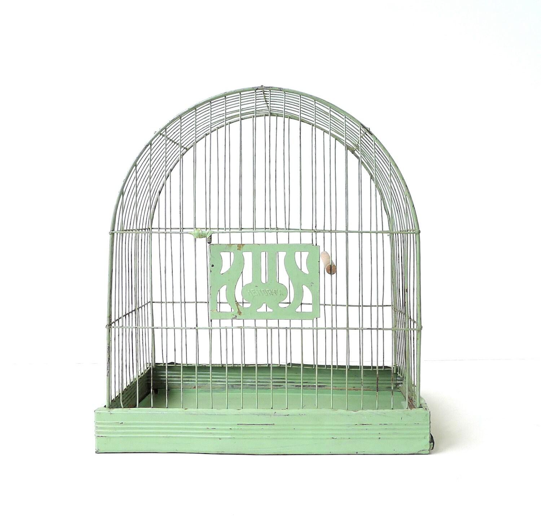 Vintage Hendryx Pale Green Bird Cage Birdcage - marybethhale