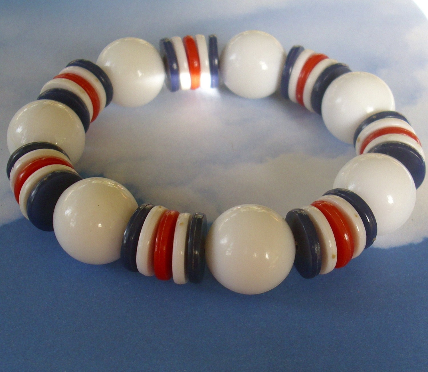 Vintage Red White & Blue Bracelet