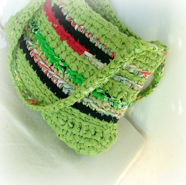 Crazy green recycled fabric rag crochet shoulder bag