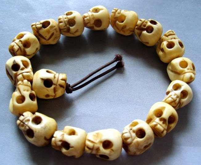 Skull Bracelet Bracelet-white Skull Beads
