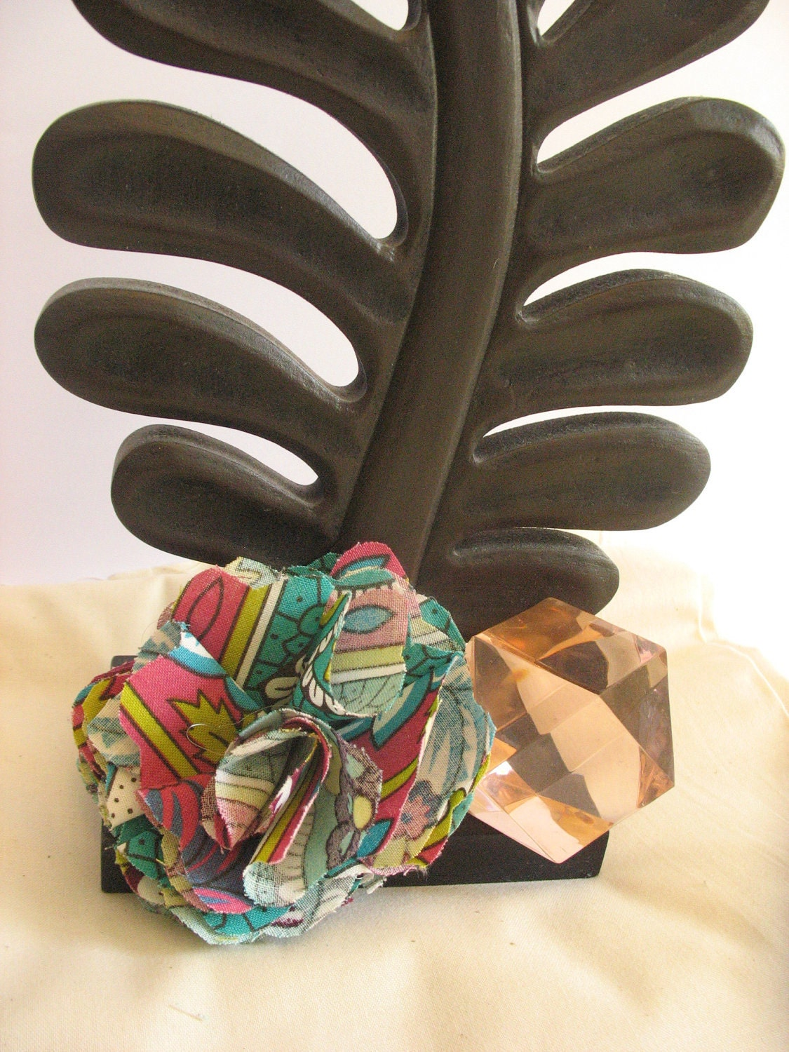 Multi Coloured Fabric Flower Brooch Pin