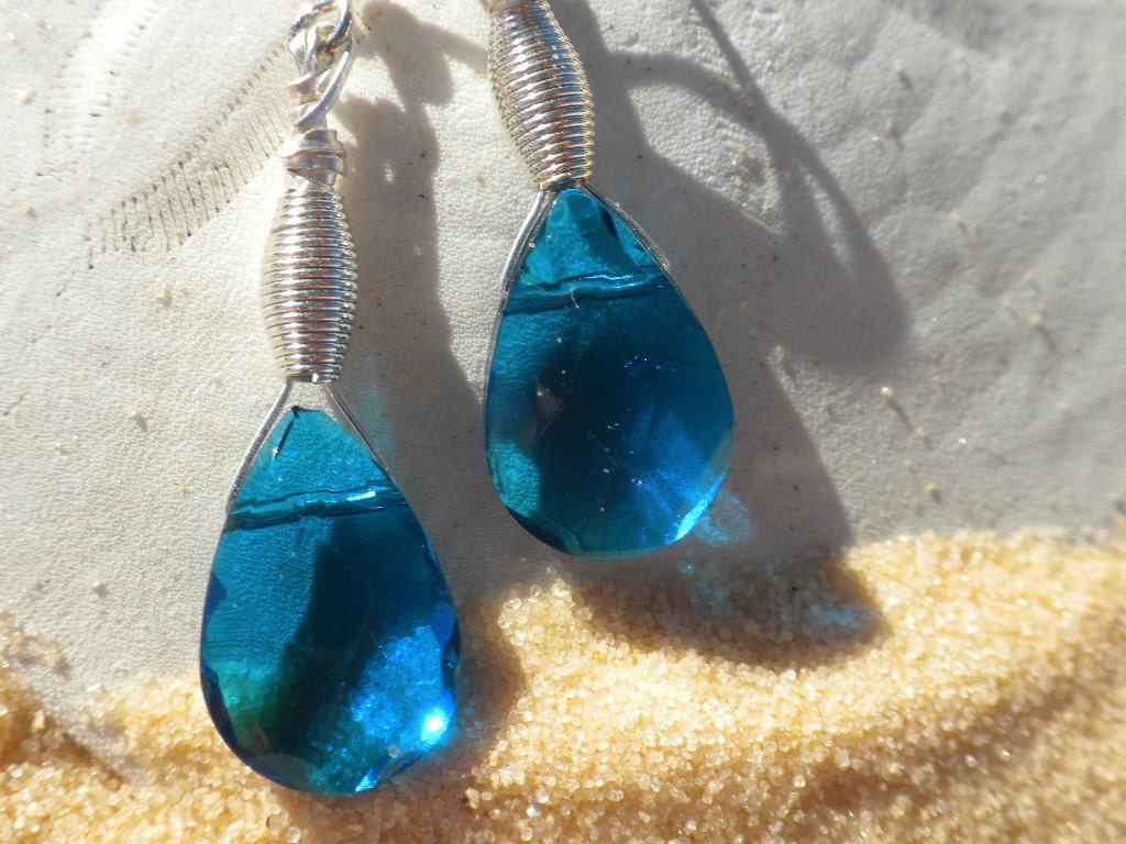 Pretty, Blue Glass Dangle Earrings with Silver Hand Wired Wrapped