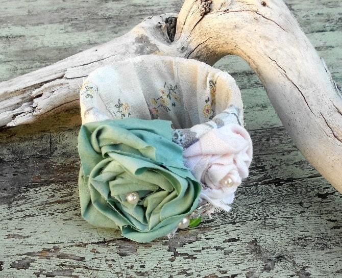 Романтический браслет ткани, потертый шик манжеты, свадебный корсаж, французский стране, коттедж шикарный пляж богемной девушки