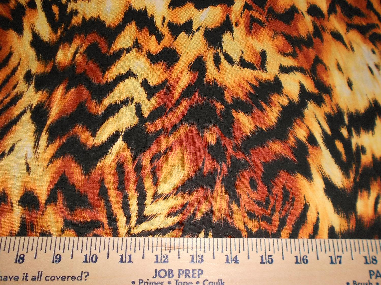 FREE SHIPPING  Fabric 1/2  Yard of  Jungle Tiger Stripe FIERCE 100 % cotton - rspomm
