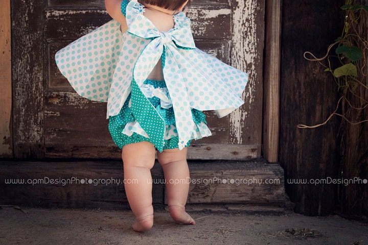 Girls Baby Toddlers Twirl Dress & Ruffled Panties 0-3 mos,3-6 mo, 6-9mo , 9-12 mo,  18 mo Aqua ta dots 2 piece custom