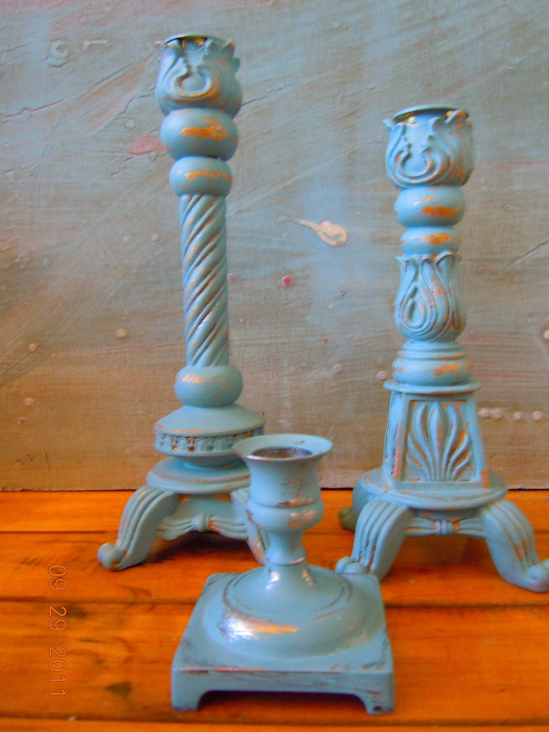 Three UPcycled Shabby Green Tea Candle Holders