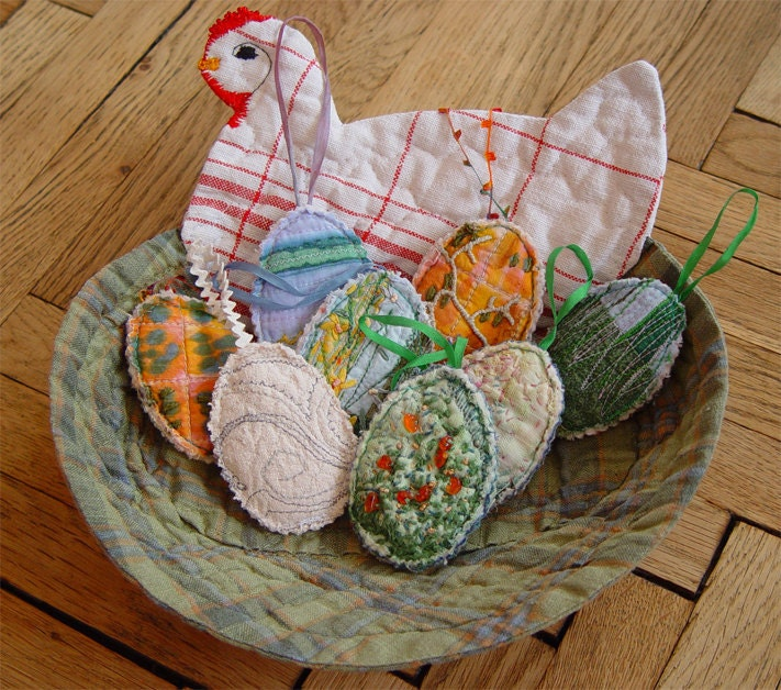 Handmade textile hen ornament - autumn