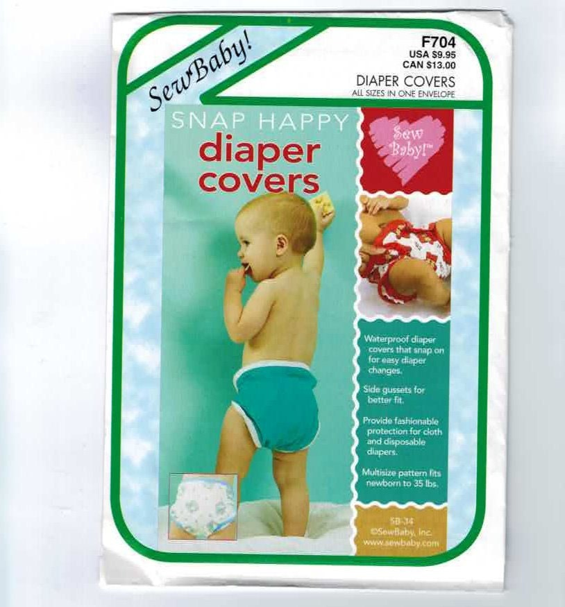 Craft Sewing Pattern Sew Baby F704 Snap Happy Baby Cloth Diaper Cover Gusset One Size UNCUT