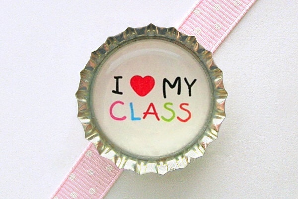 I Love My Class Bottle Cap Magnet - school teacher gifts, classroom decorations, gift for teacher, back to school gift, heart fridge magnet
