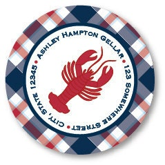 Lobster Plaid Address Label Stickers - ThePreppyLadybug