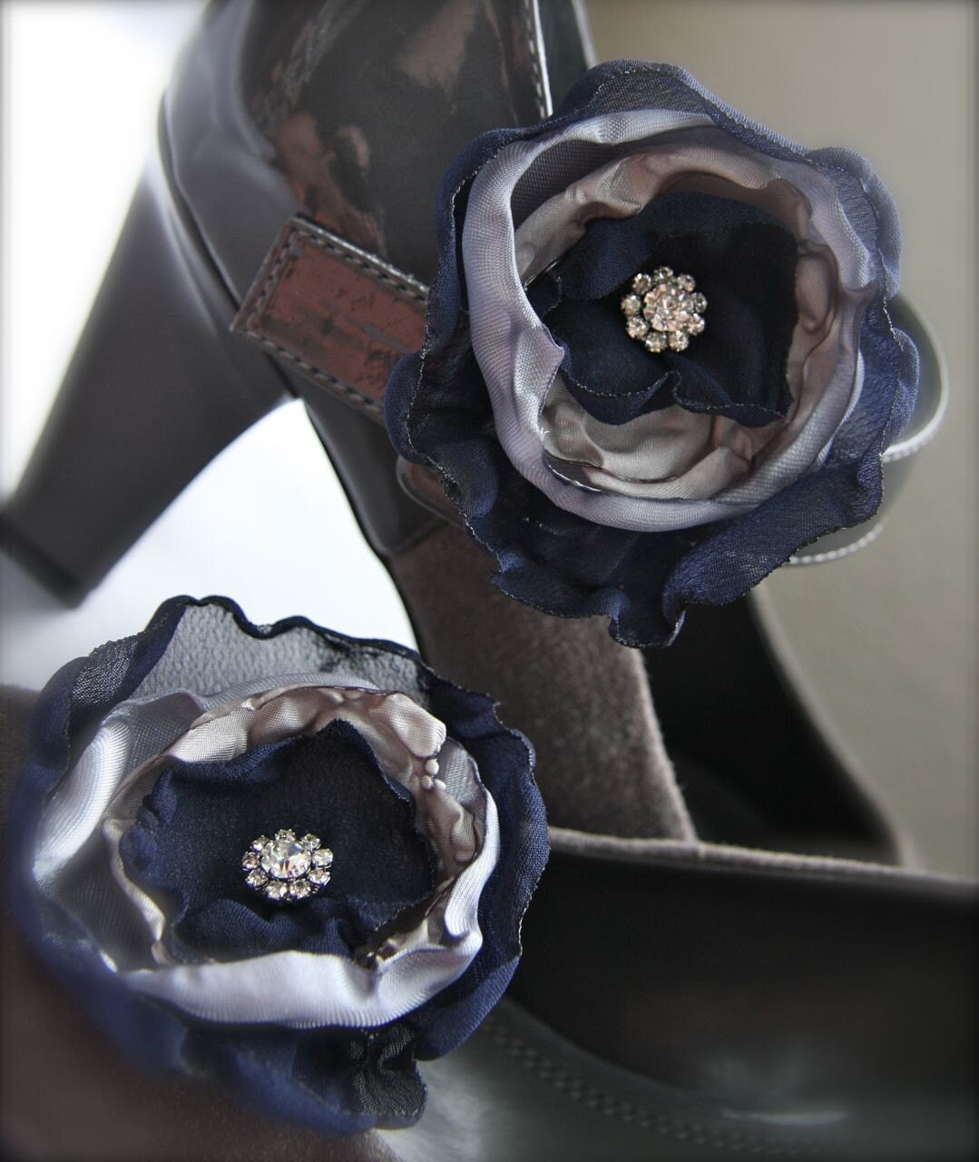 Flower Shoe Clips, Navy Blue and Gray vintage style rhinestone organza, custom wedding colors