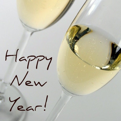 Happy New Year Champagne Glasses Card