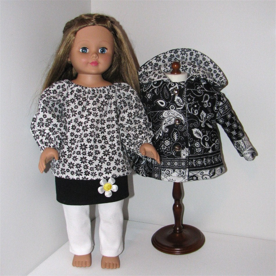 Black and White Four Piece Jacket Set, Fits American Girl and 18 Inch Dolls