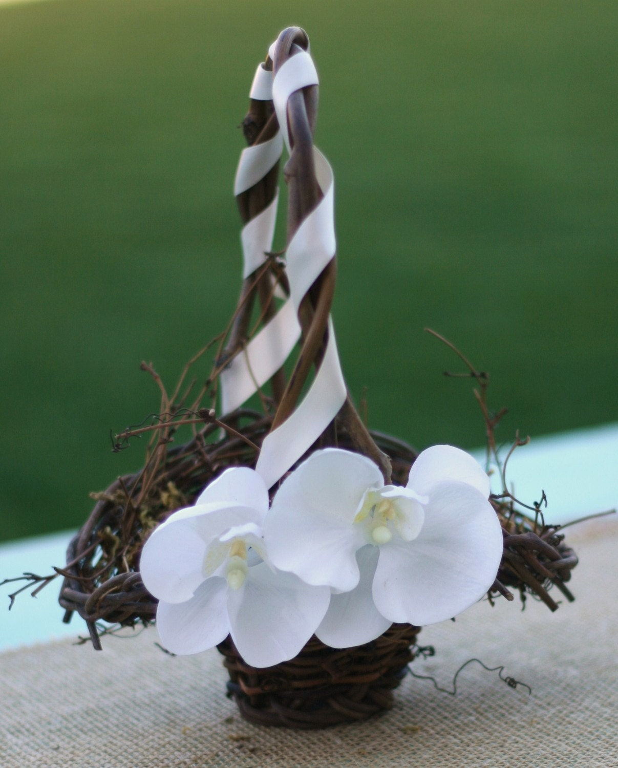Custom Rustic Flower Girl Basket With Moss White Orchids