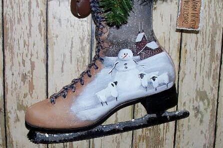 Зимний Ice Skate Home Decor Снеговик Примитивные народного искусства WWHOFG