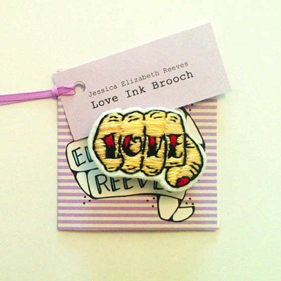 Love Ink Handstitched Brooch