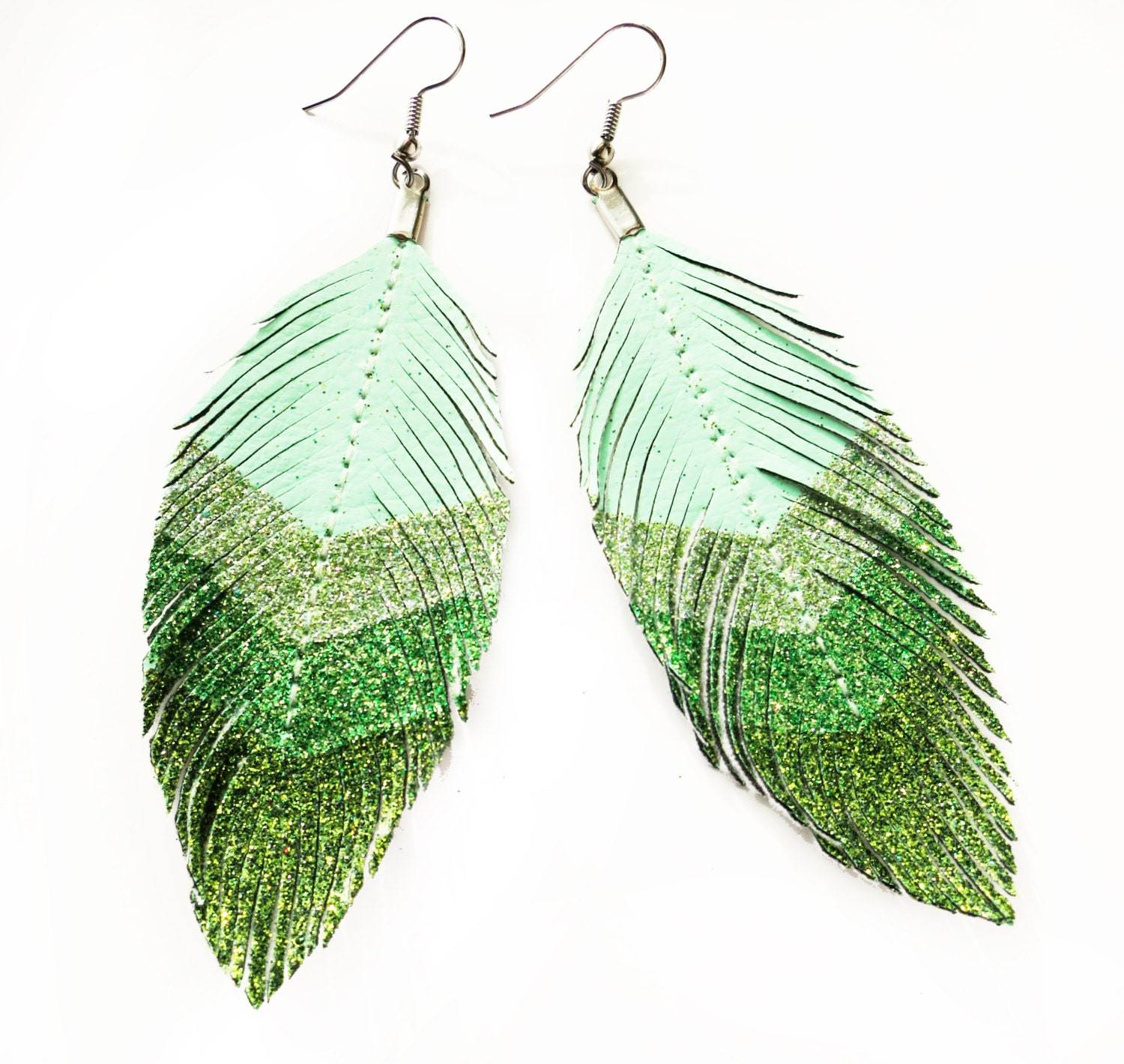 Seafoam Chevron - Green Glitter Faux Leather Feather Earrings - lovesexton