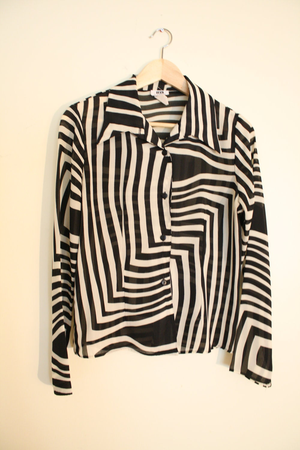 Zebra - Vintage Black n White Sheer Blouse