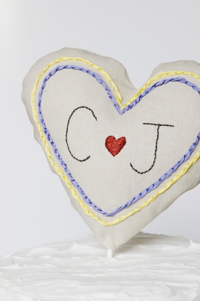 CUSTOM embroidered heart cake topper -  your initials