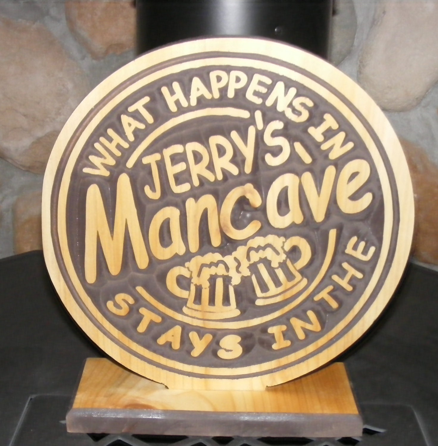 Mancave  Shelf Sitter  Personalize with your choiceof name  10 inch Circle   Carved Wood Sign Wedding groomsmen gift - BlackRiverWoodshop