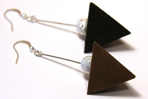 Pyramid Earrings. Modern Minimalist Earrings. Dark Chocolate Brown Wood. Silver Stardust Bead. Sterling Silver Wire. Modern Edgy - KapKaDesign