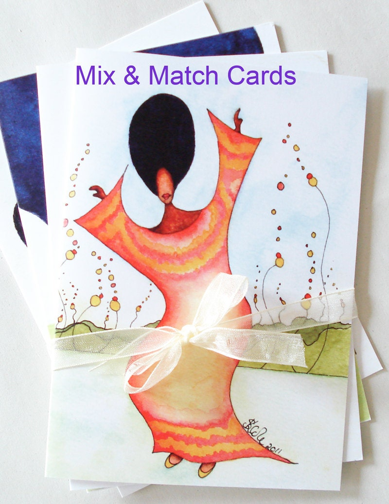 Mix and Match African American Greeting Cards x 6