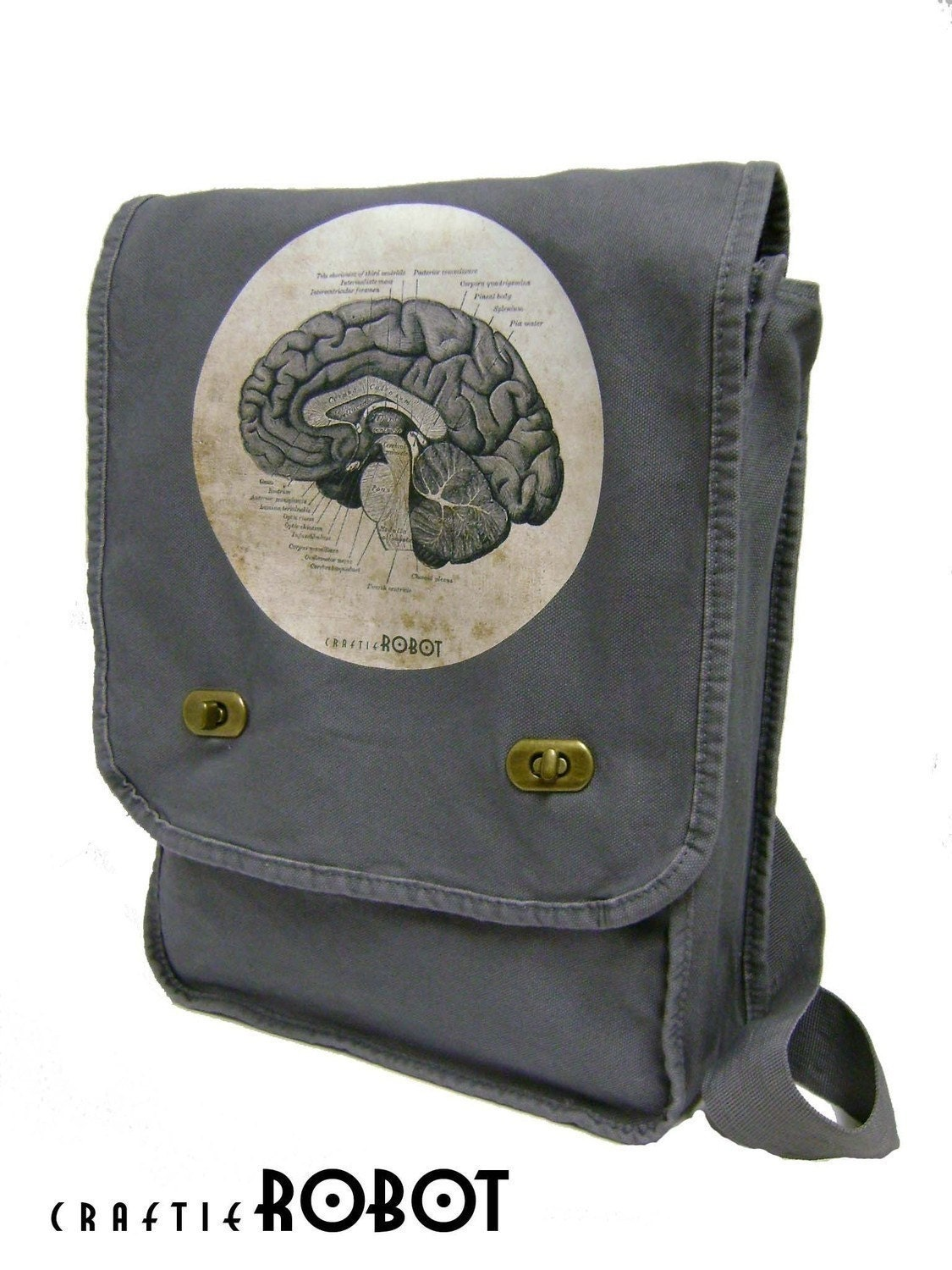 vintage human anatomy - the brain - science geek unisex (gray) MESSENGER / LAPTOP BAG
