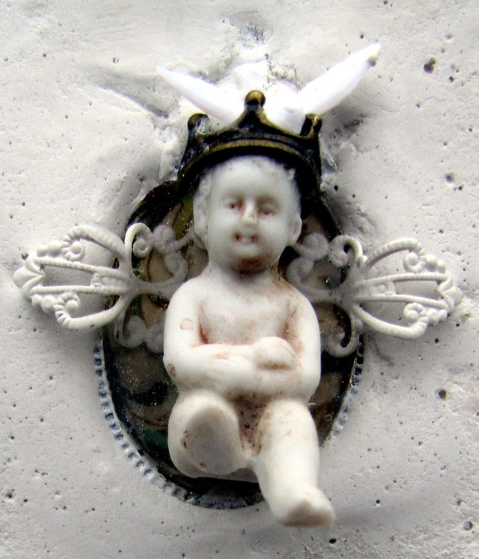 Mixed Media German Doll Angel Bird Art Shadow Box Collage Assemblage OOAK - Studiomoonny