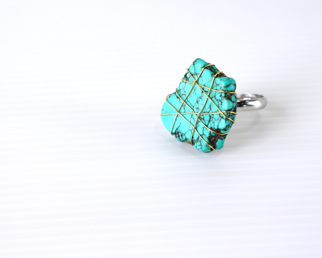 Turquoise Stone Ring, Wire Wrapped Flat Stone Adjustable Ring, Golden Wire Natural Stone Ring, One Of A Kind Stone Ring