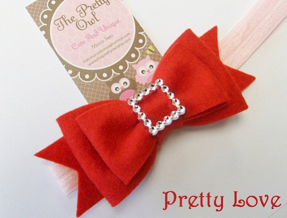 Miss Elegance. Felt Bow. Newborn. Baby. Girls Headband. Custom Size. Wool Felt.