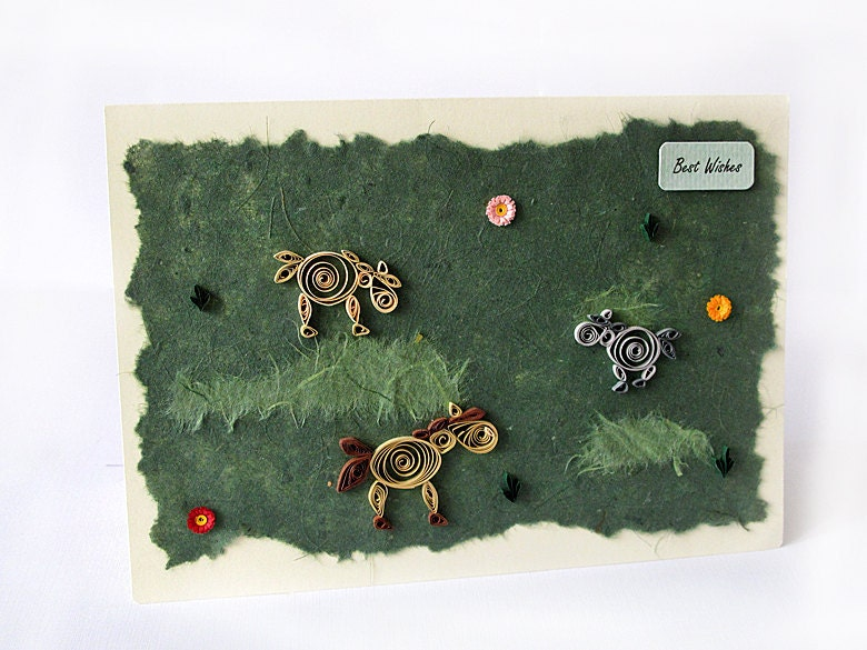 Quilled Handmade Card With Horses, Fringe flowers Best Wishes