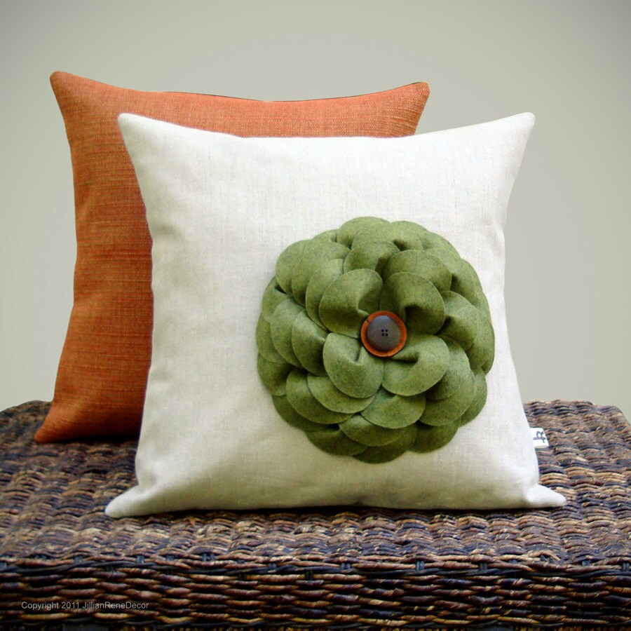 "16"" AUTUMN PILLOW COVER - Olive Green Felt Flower - Pumpkin Orange Coconut Button Wood Button Natural Linen Fall Decor by JillianReneDecor"