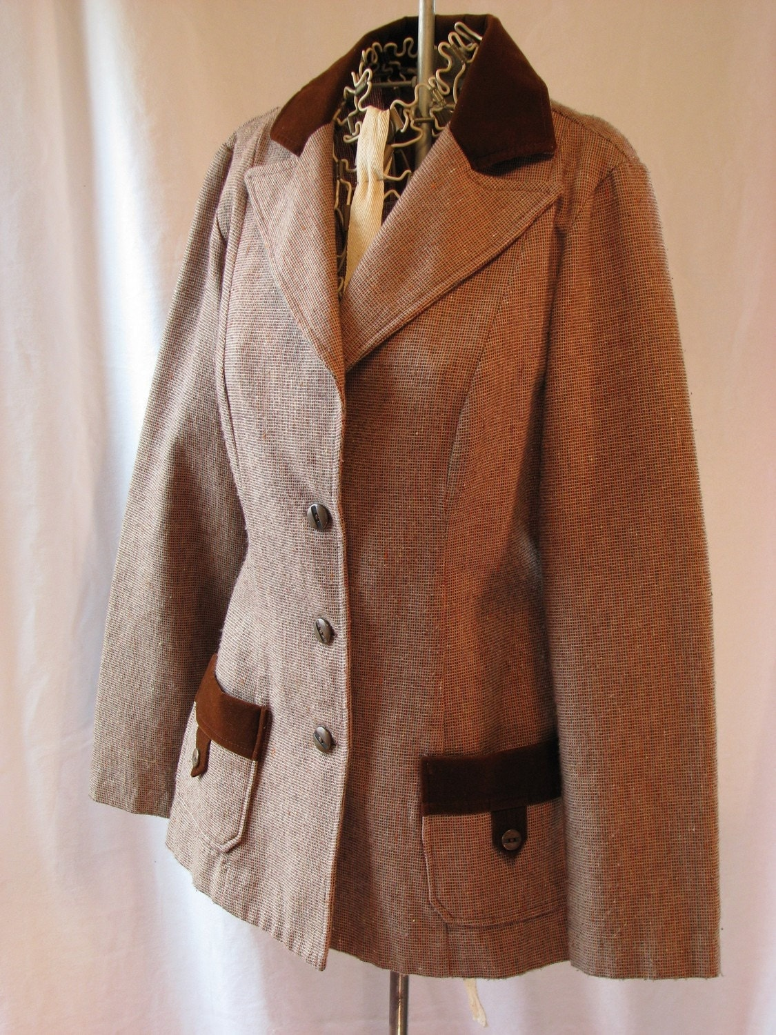 1970s Velvety-Tweed Chocolate Brown Blazer